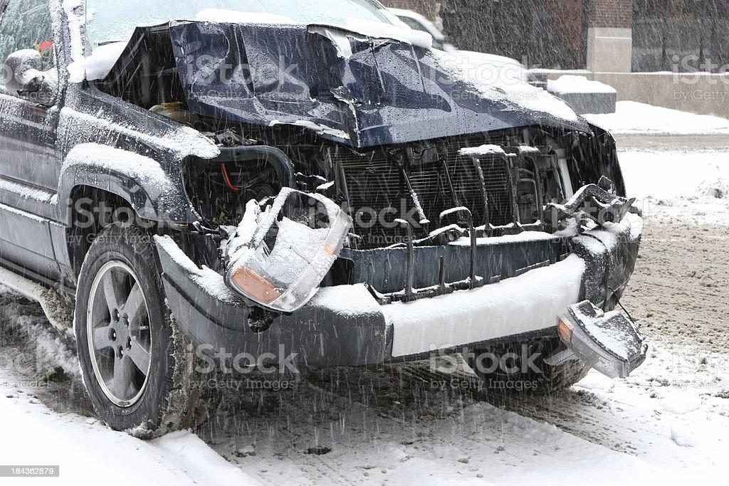 Auto Accident in Winter stock photo