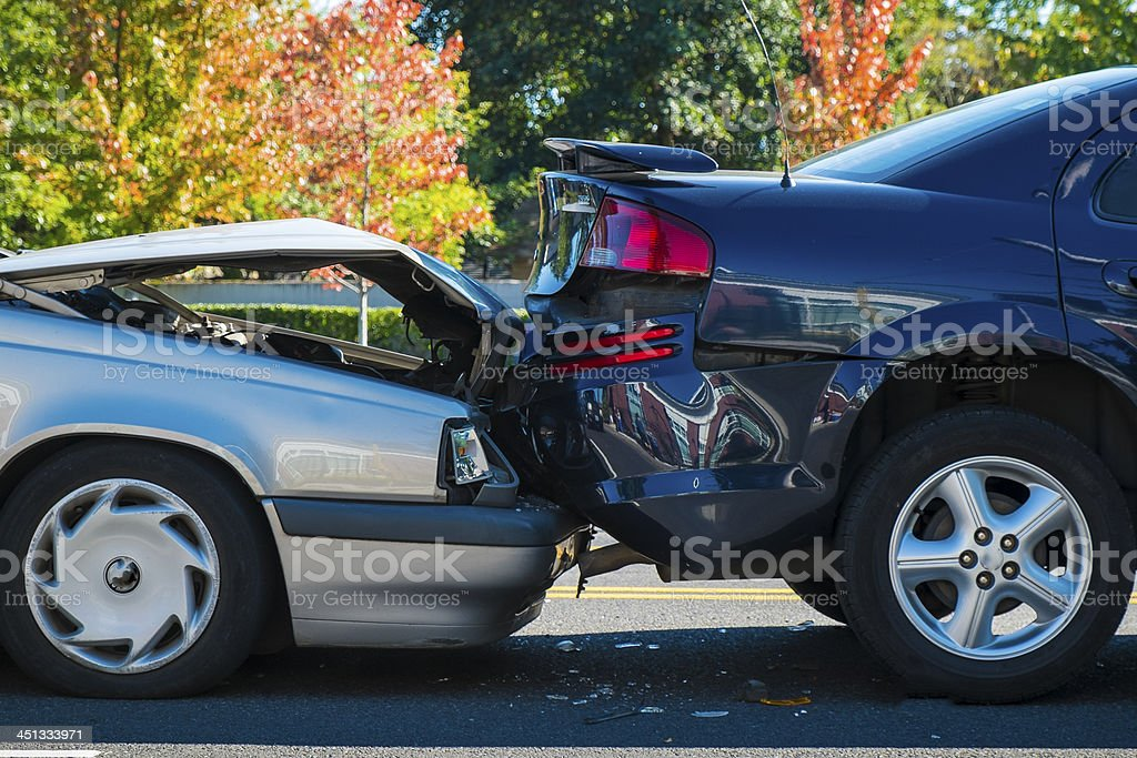 Auto accident involving two cars royalty-free stock photo
