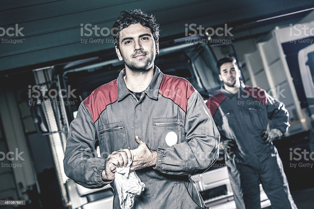 Auto and trucks mechanics stock photo