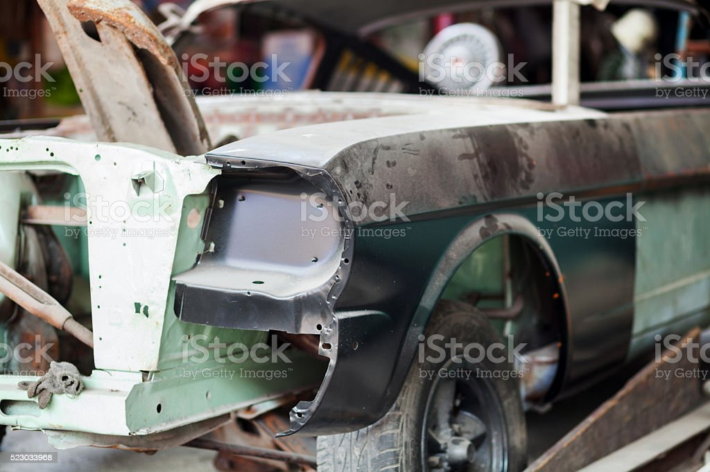 Auto body and couch of old car stock photo