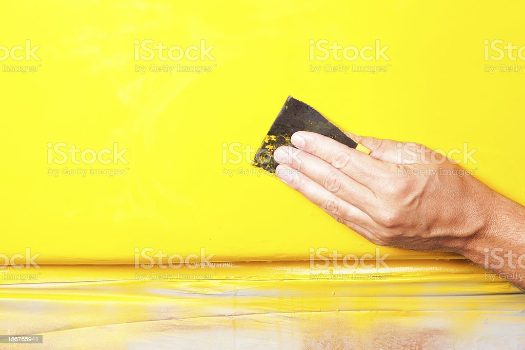 Auto Body Repair – Wet Sanding New Paint stock photo