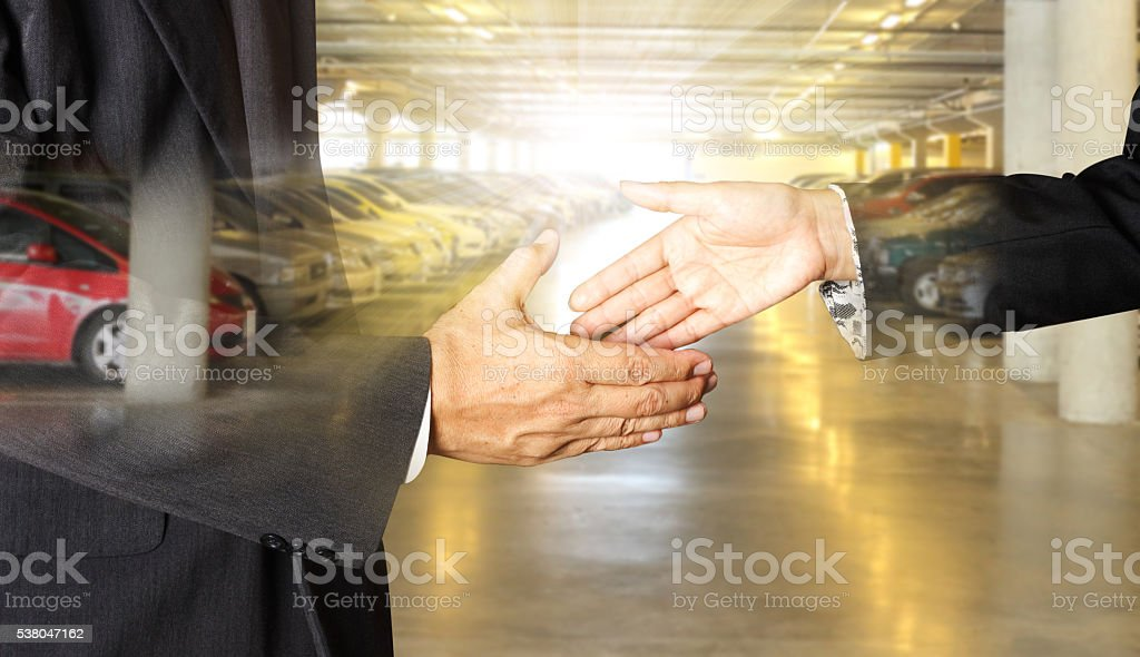 auto business, car sale, deal, gesture and people concept stock photo