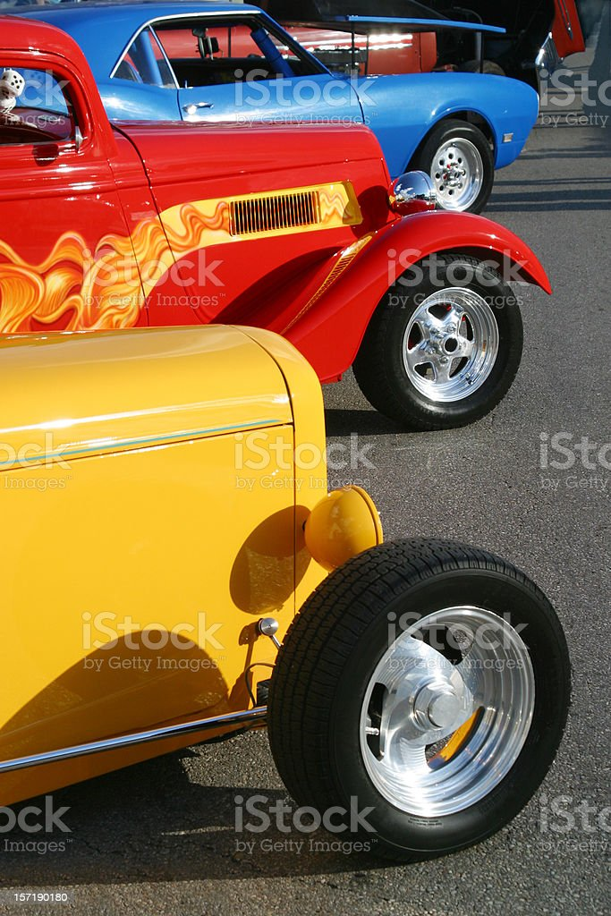 Auto Car - Red Yellow and Blue Hot Rod royalty-free stock photo