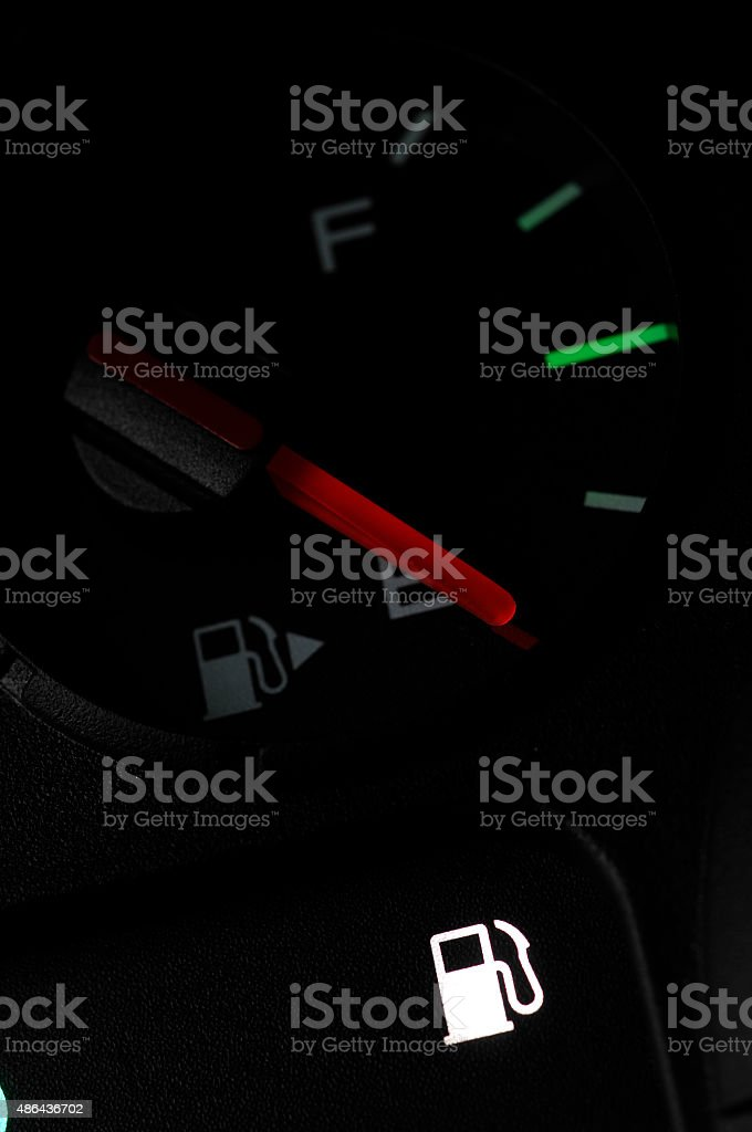 Auto dashboard fuel light stock photo