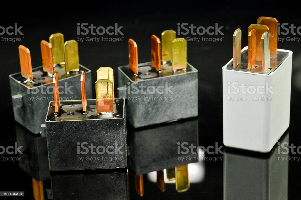 Auto Electronic Collection On Black Background Car Electromagnetic - Electromagnetic relay switch