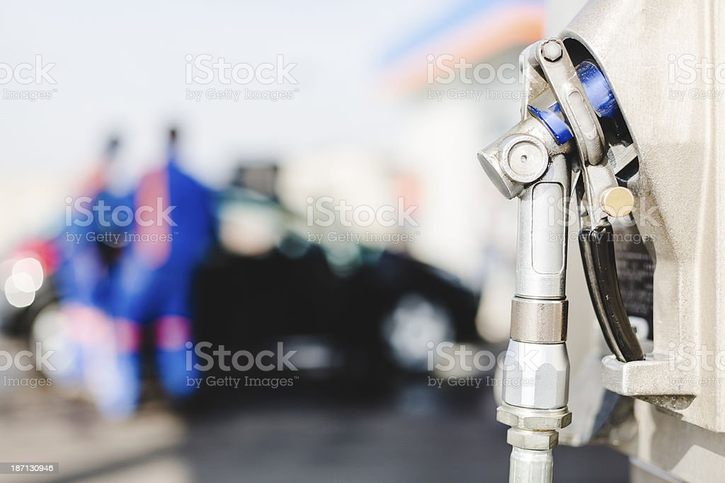 LPG auto gas refueling on petrol station royalty-free stock photo