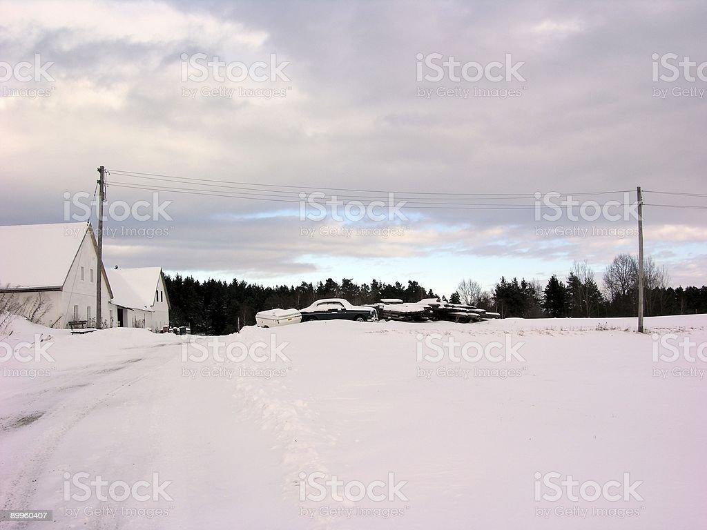 Auto Graveyard in Winter stock photo