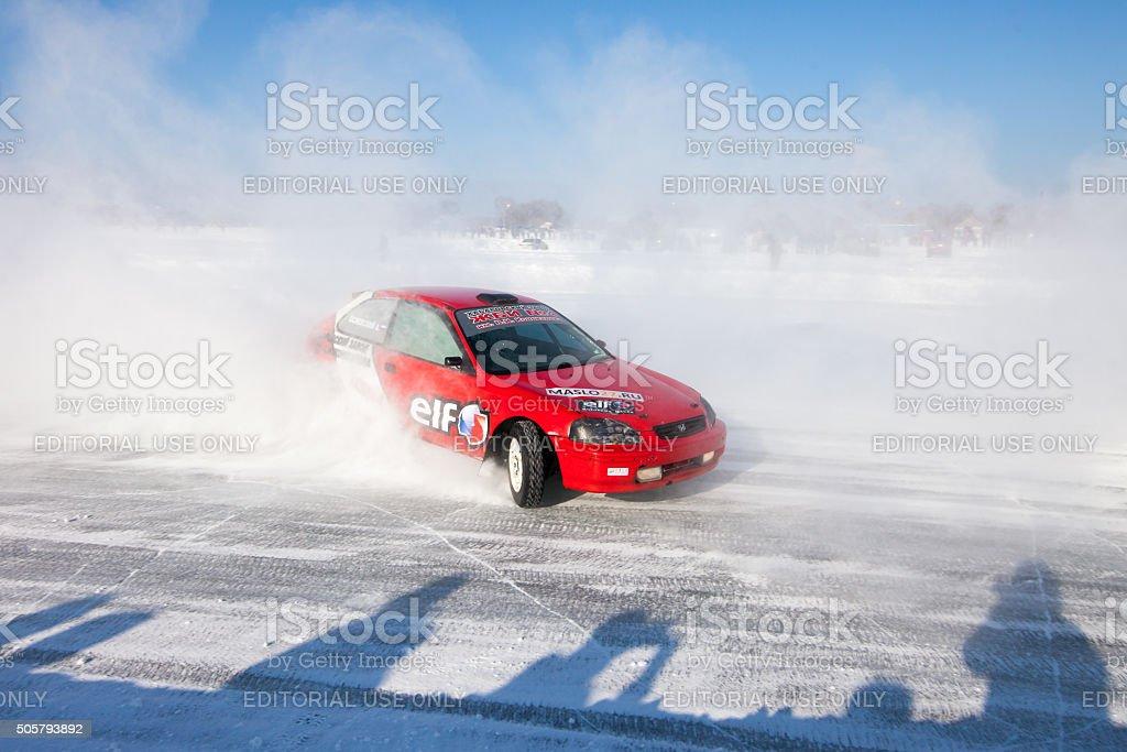 Khabarovsk, Russia - January 17, 2016: Auto ice racing stock photo