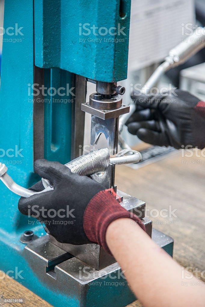 Auto industry hydraulic hoses stock photo
