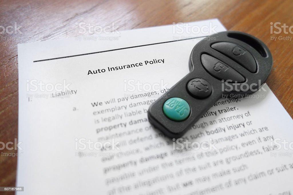 Auto insurance policy stock photo