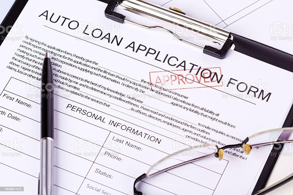 Auto Loan Application stock photo