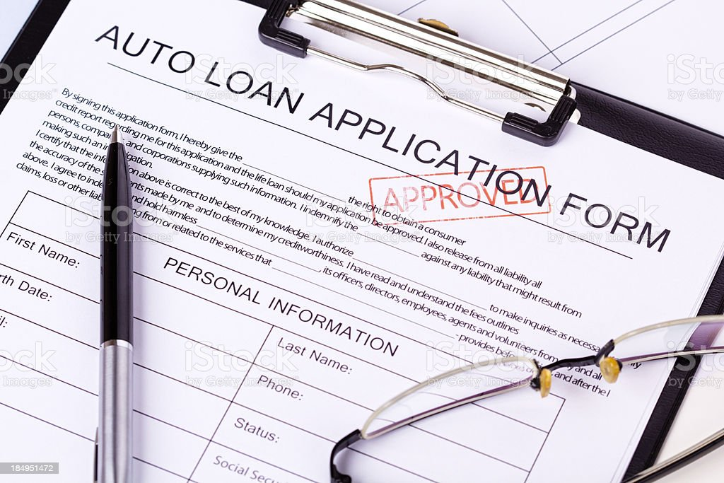 Auto Loan Application stock photo