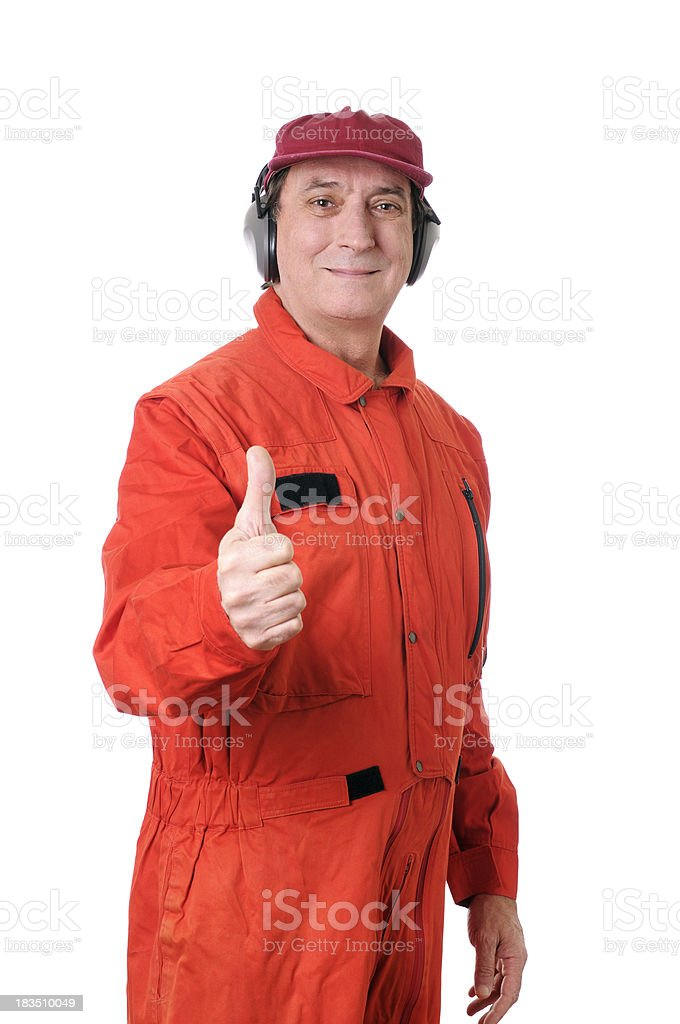 Auto Mechanic or Air Traffic Controller Giving Thumbs Up royalty-free stock photo