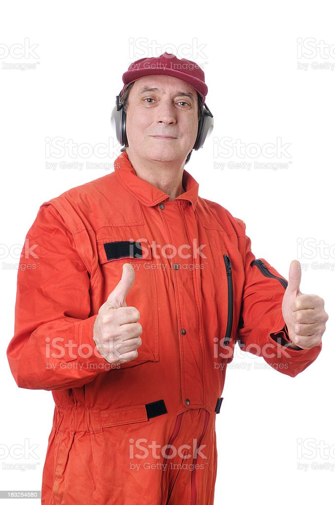 Auto Mechanic or Air Traffic Controller Portrait stock photo
