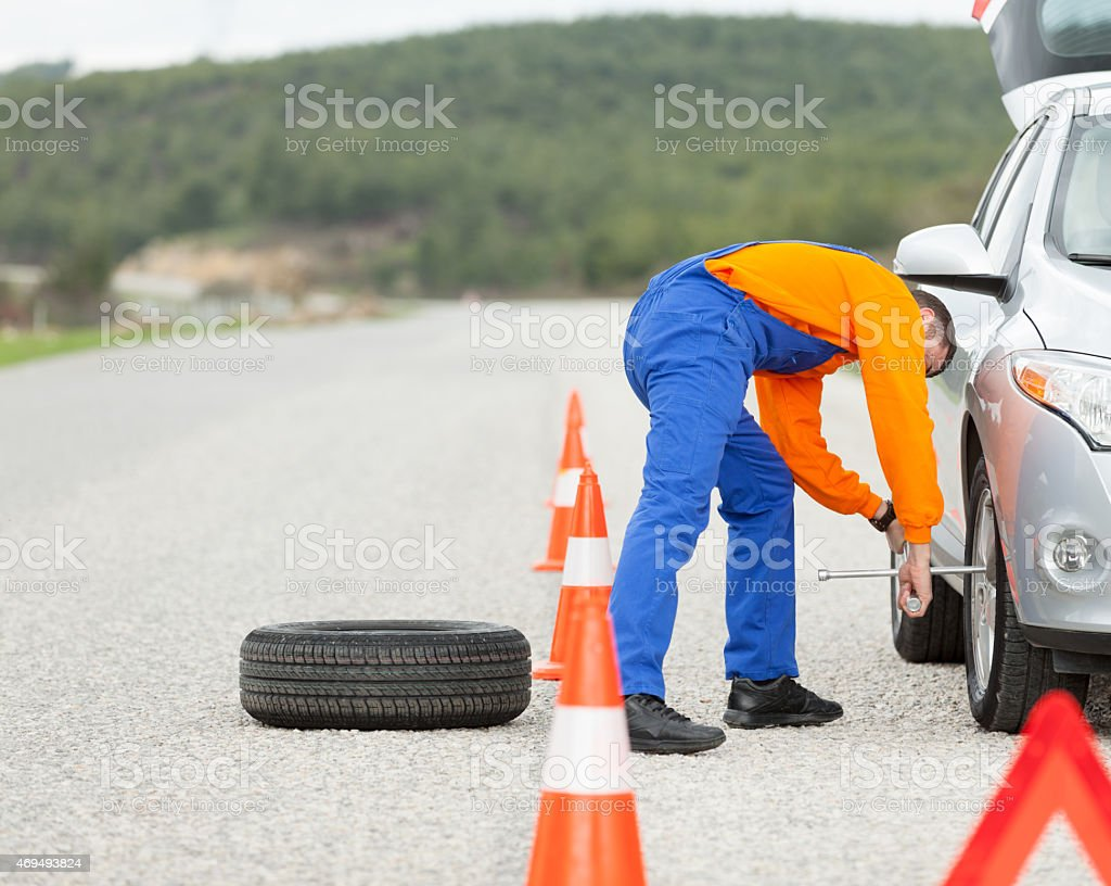 Auto Mechanic Road Assistance stock photo