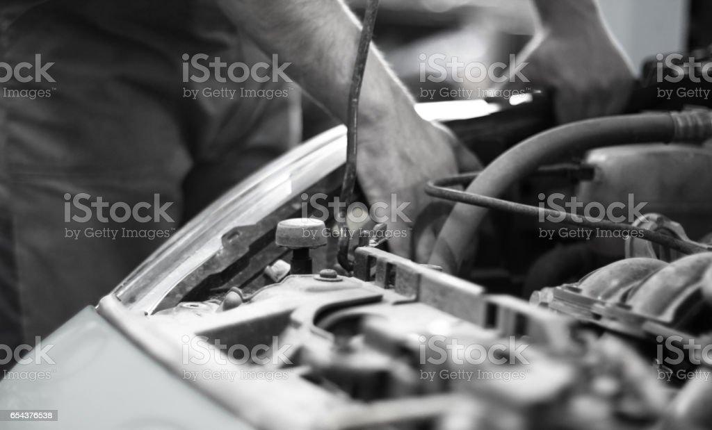 Auto mechanic service and repair stock photo