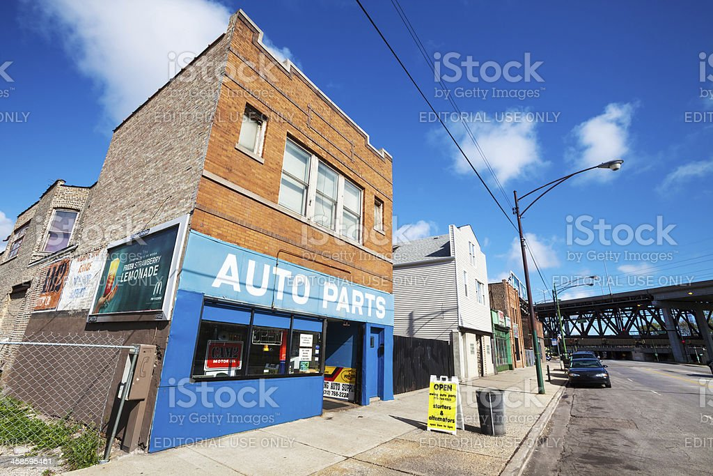 Auto Part store in East Side, Chicago stock photo