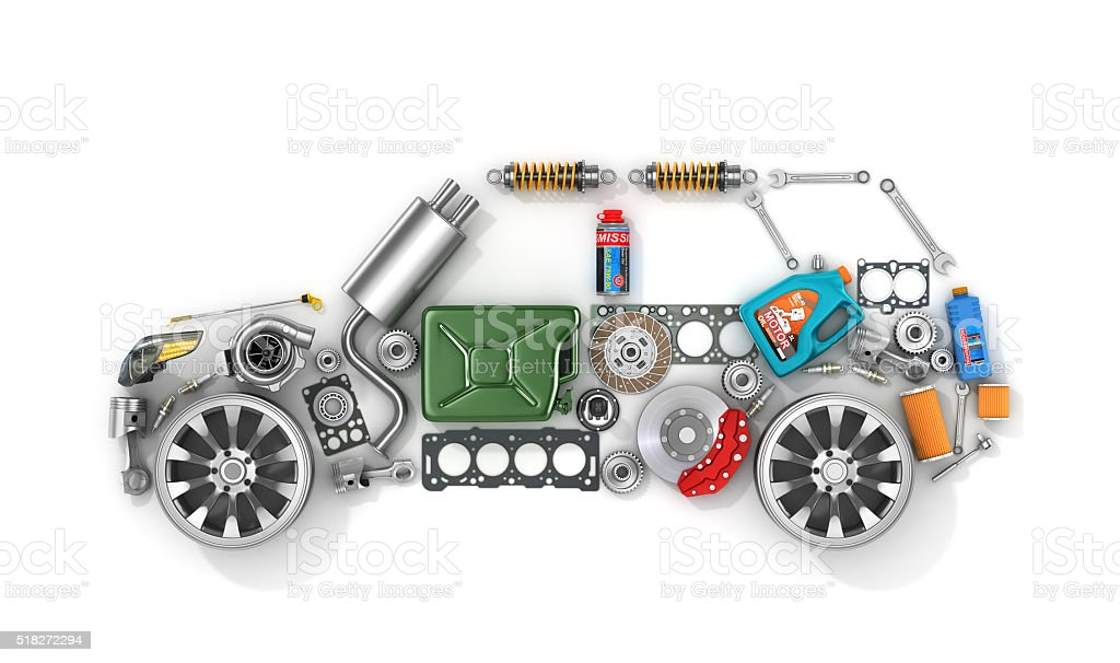 Auto parts in form of car . stock photo