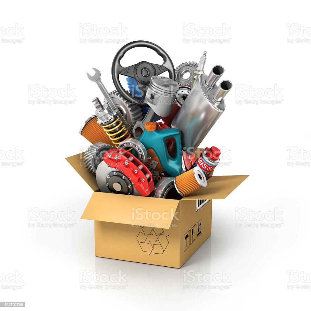 Auto parts in the card box. stock photo