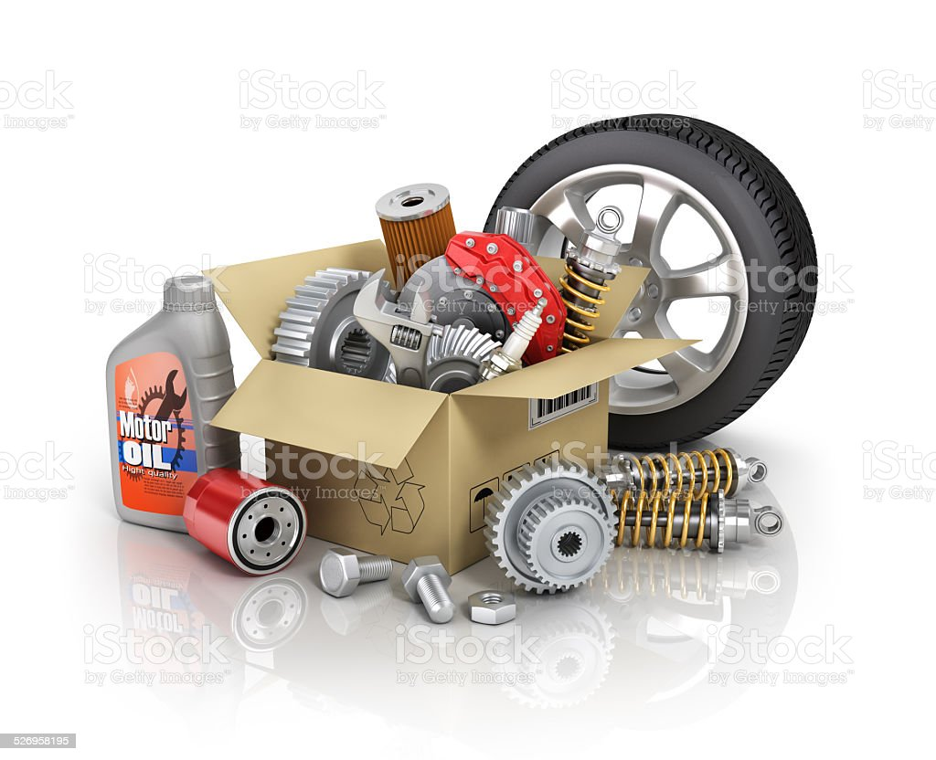 Auto parts in the cardbox. Automotive basket shop. Auto parts store. stock photo