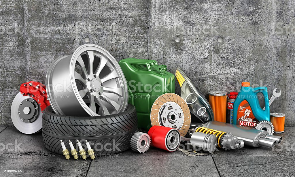 Auto parts on concrete wall. stock photo