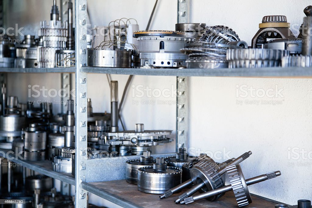 Auto Parts Spread out on Shelving Unit stock photo