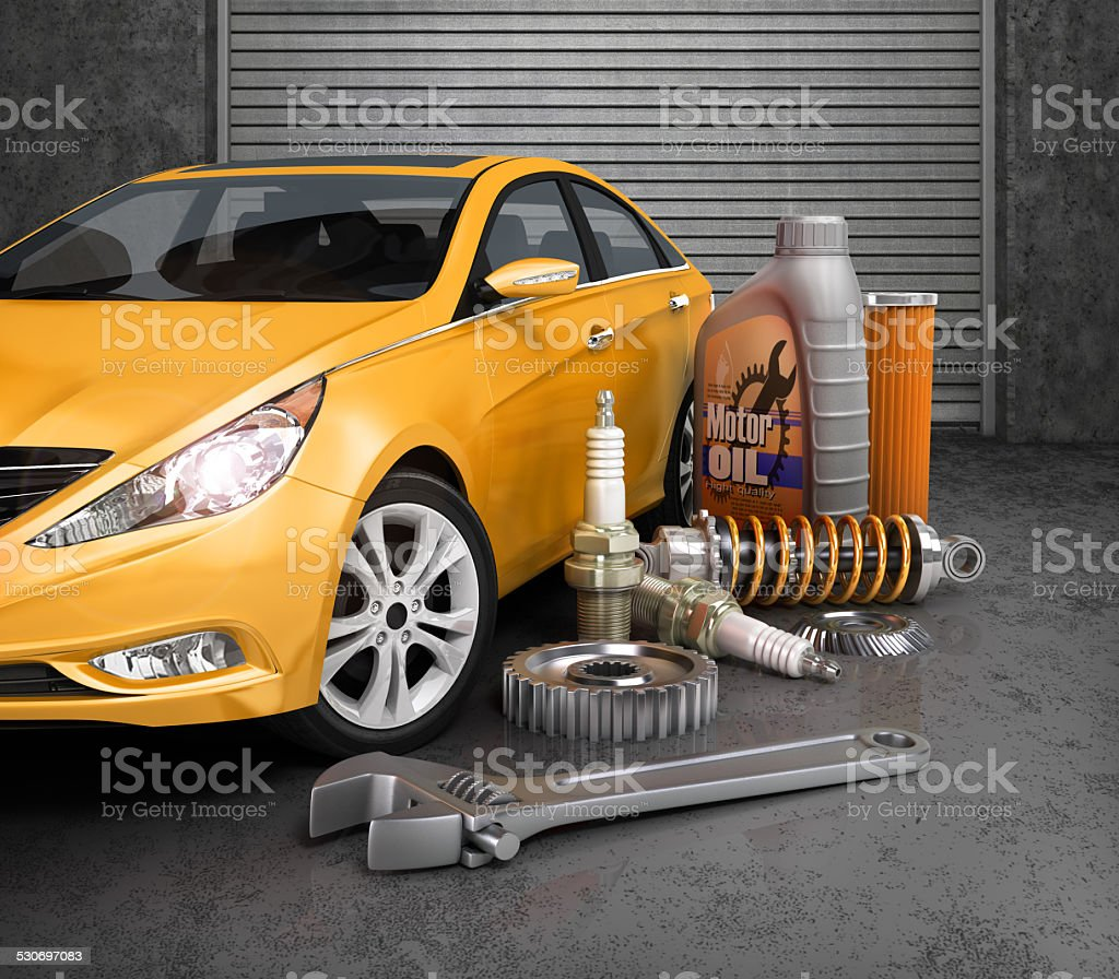 Auto parts with beautiful car in garage. stock photo