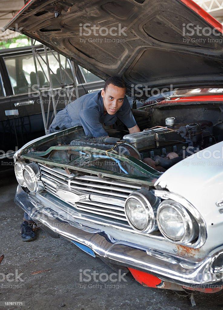 Auto Repair Shop at Cuba royalty-free stock photo