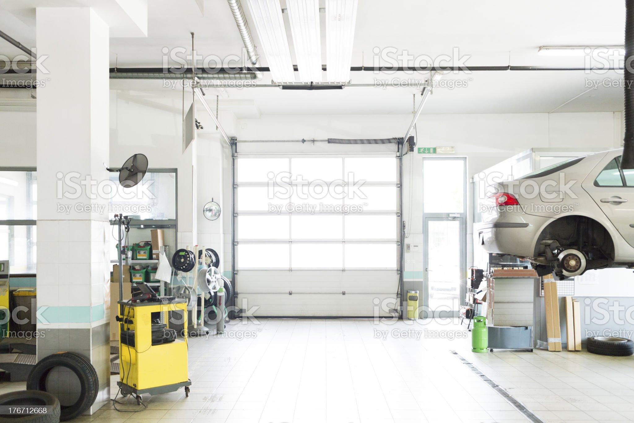 Auto repair shop, car garage, royalty-free stock photo