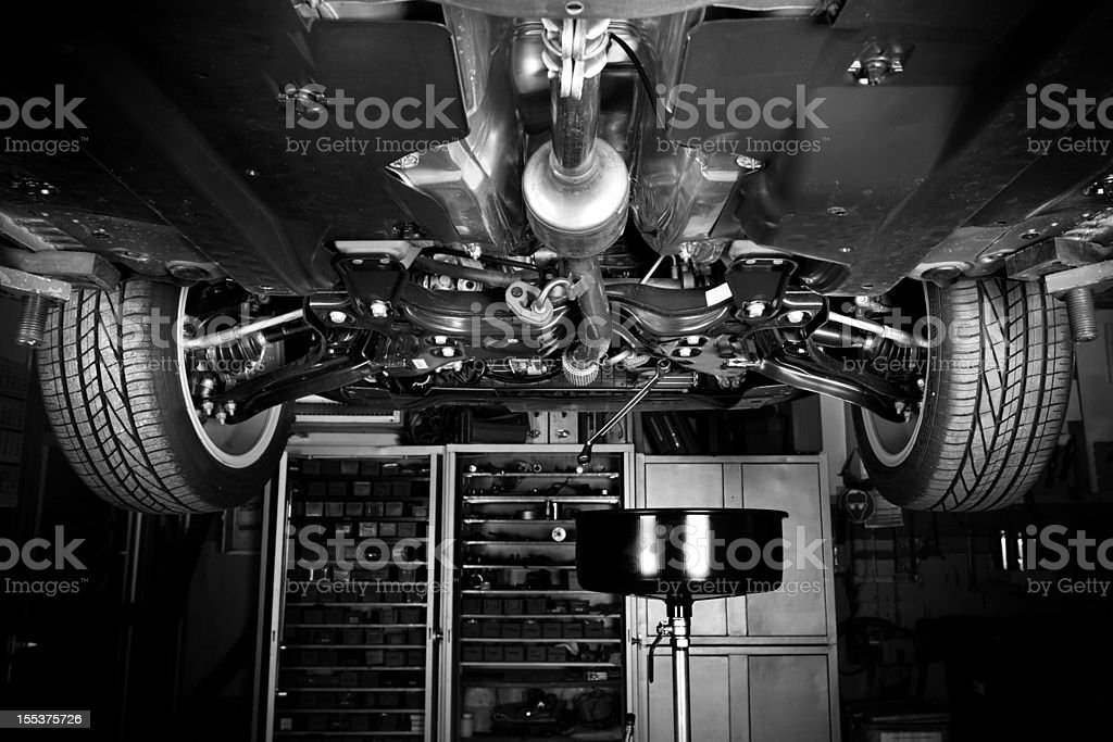 Auto repair shop - modern car, low-angle view stock photo
