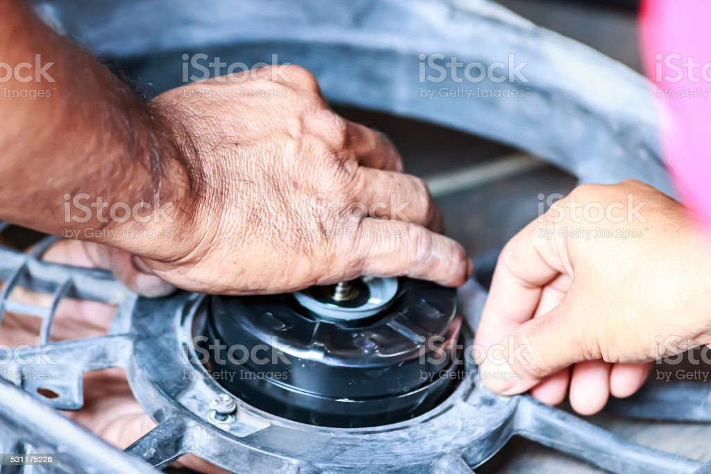 auto repair spare part turbine during automobile car maintenance stock photo
