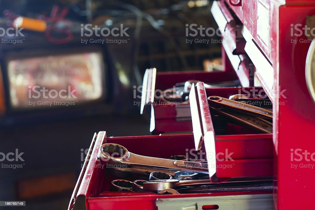 Auto Repair Tools in Toolbox stock photo