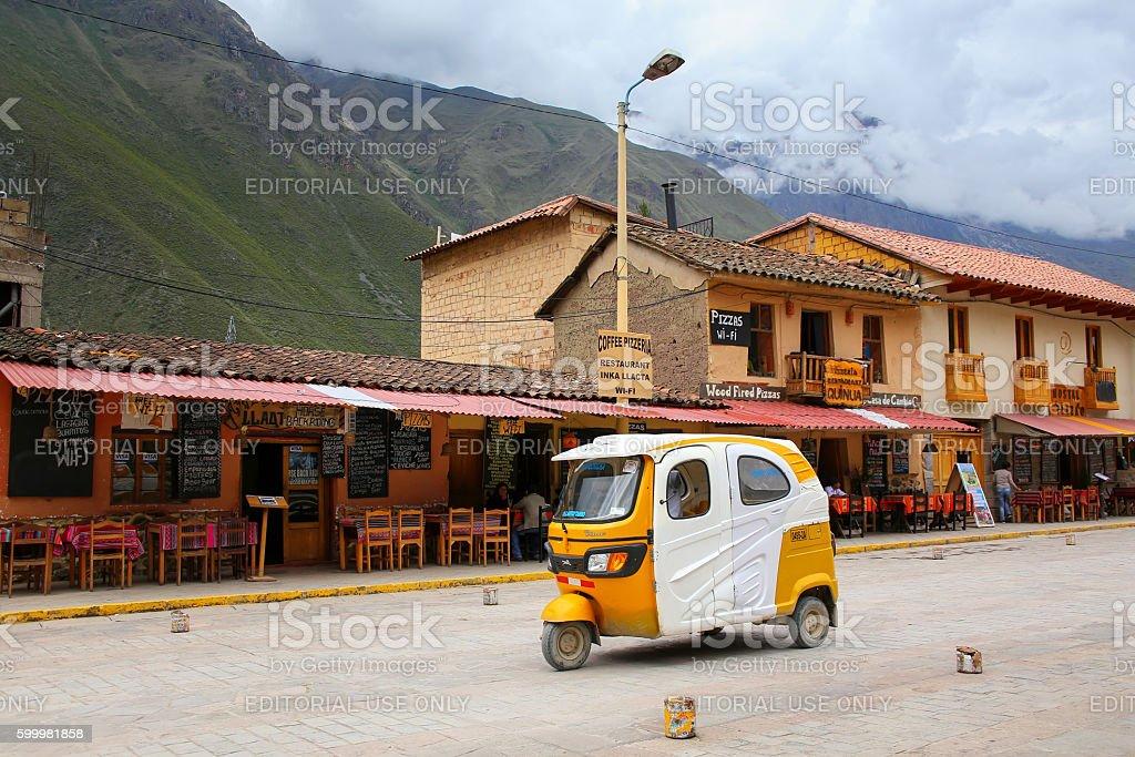 Auto rickshaw in the street of Ollantaytambo, Peru stock photo