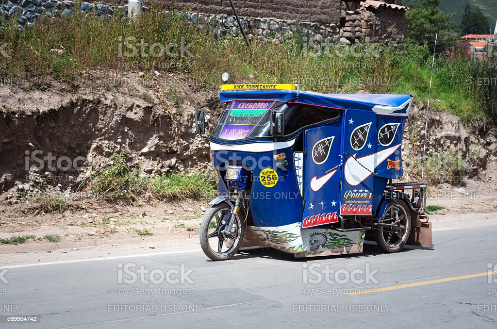 Auto rickshaw in Urubamba, Peru stock photo
