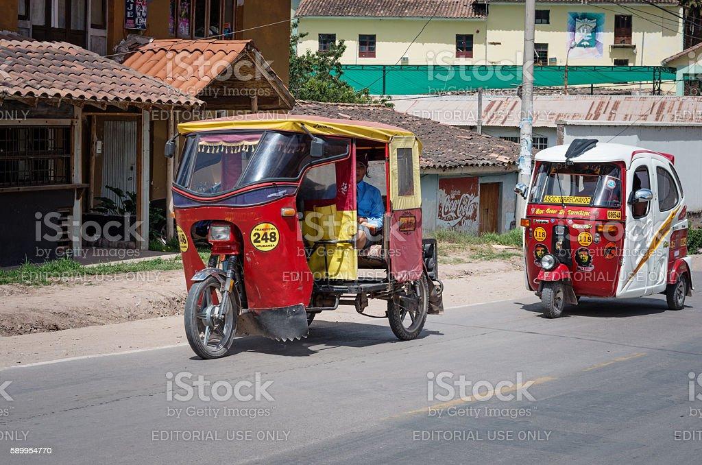 Auto rickshaw in Urubamba, Peru stock photo