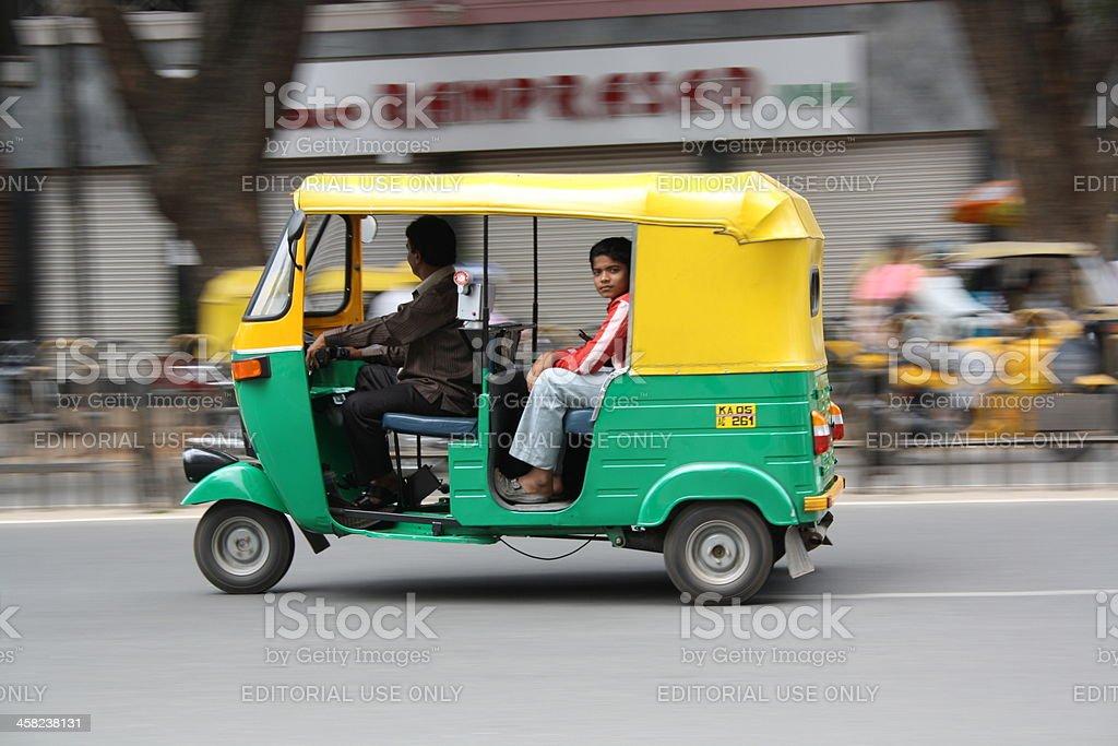 Auto rickshaw ride in Bangalore city stock photo