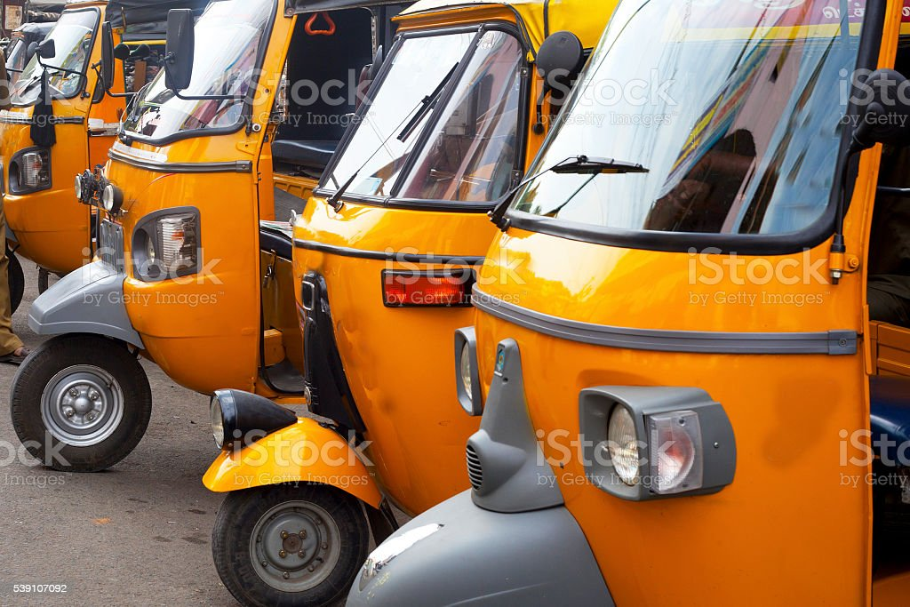 auto rickshaw  stand in Tamil Nadu stock photo