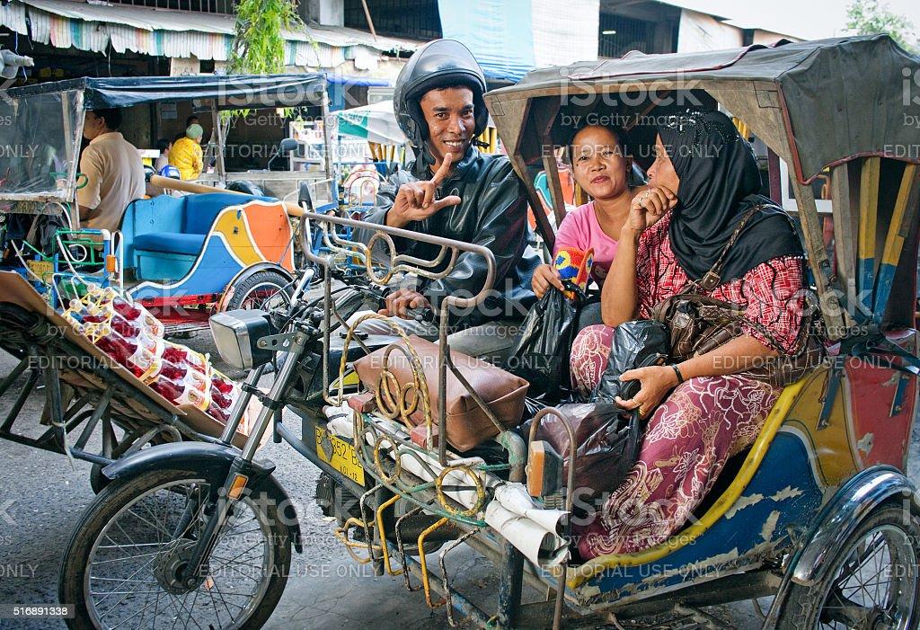 Auto rickshaw taxi  in Medan, Indonesia. stock photo