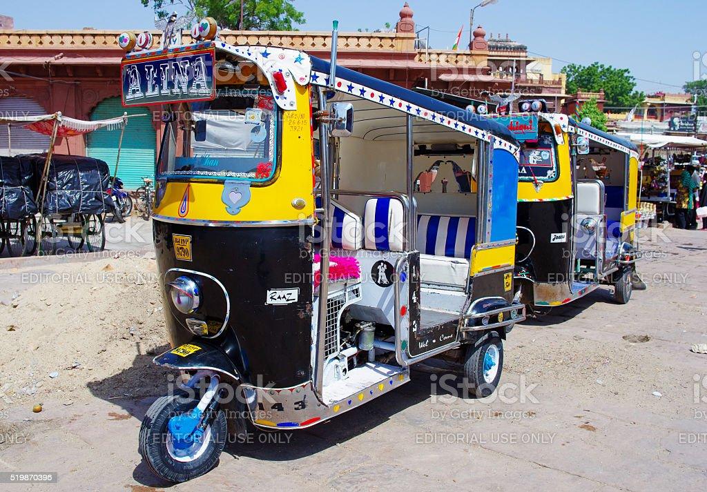 Auto rickshaw taxi on sept 20, 2013 in Jodhpur, India. stock photo
