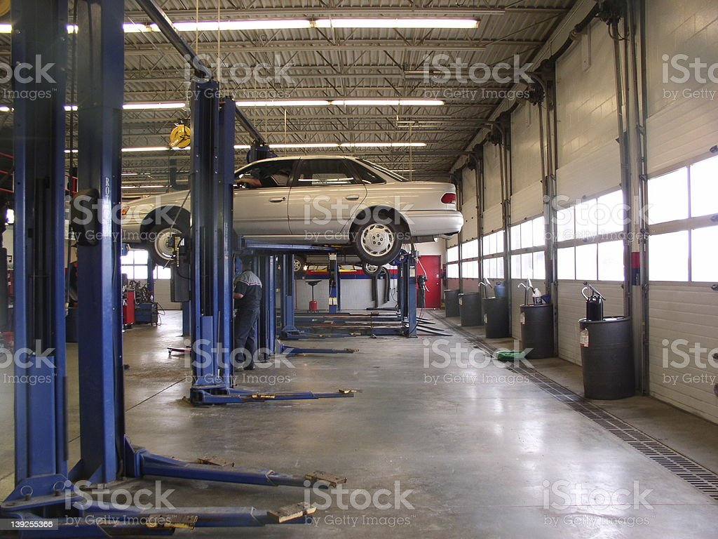 Auto service shop, wide view stock photo