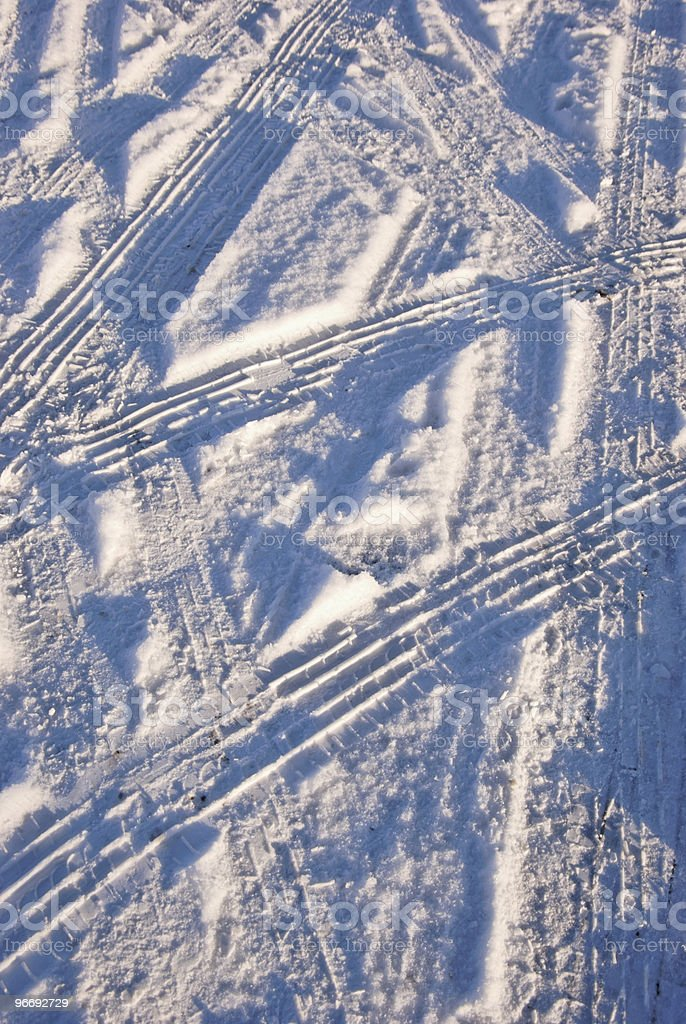 Auto Tire Tracks. Tyre Tracks in Snow stock photo royalty-free stock photo