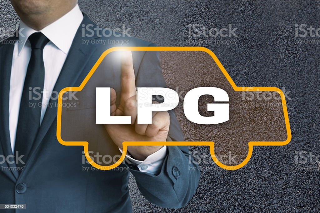LPG auto touchscreen is operated by businessman concept stock photo
