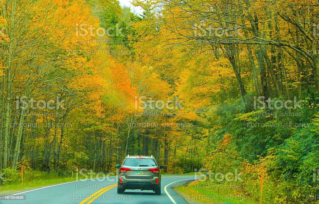 Auto tour in Great Smoky Mountains National Park stock photo