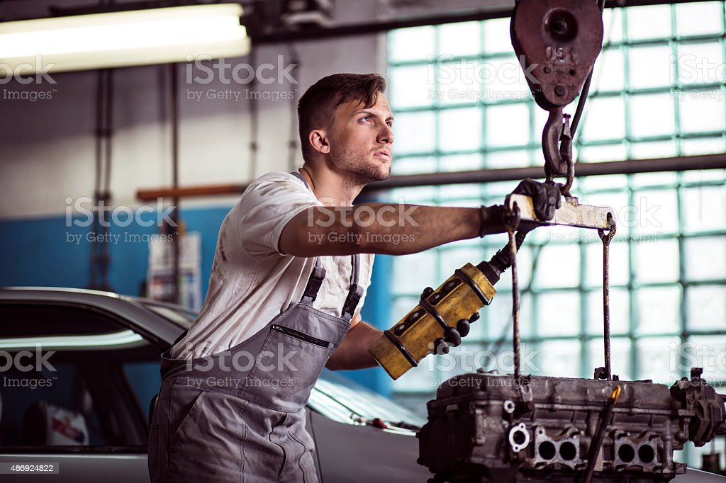 Auto workshop worker stock photo