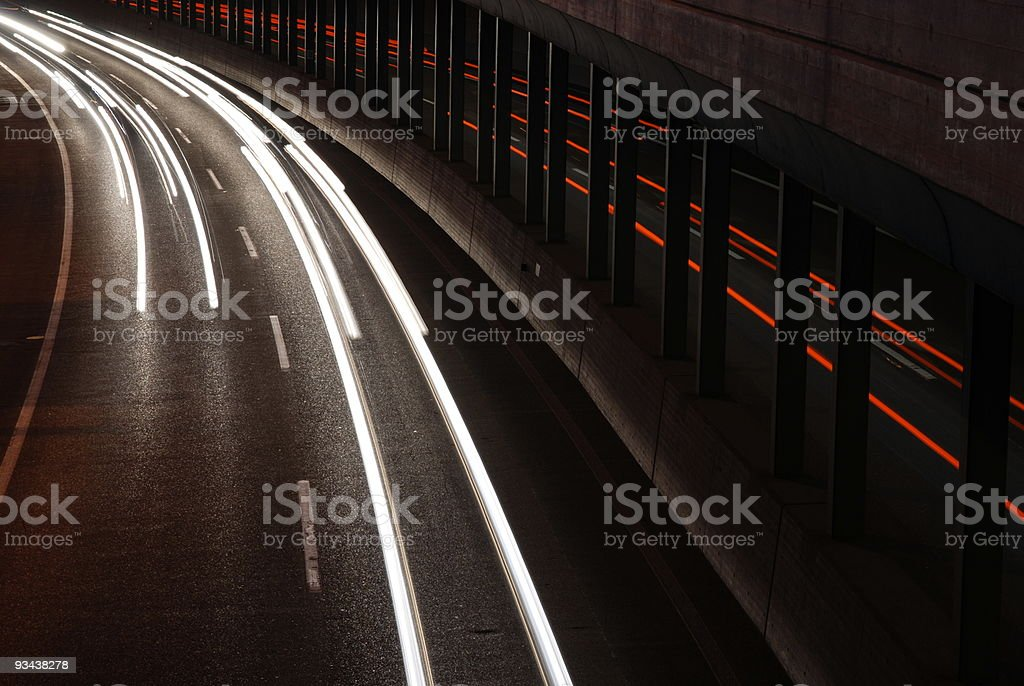 autobahn and semi opened tunnel royalty-free stock photo