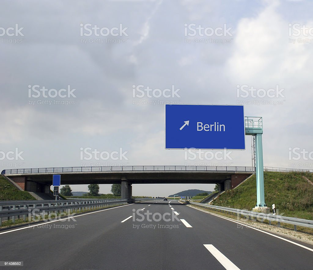 Autobahn & Berlin Autobahnschild - Highway and direction sign stock photo