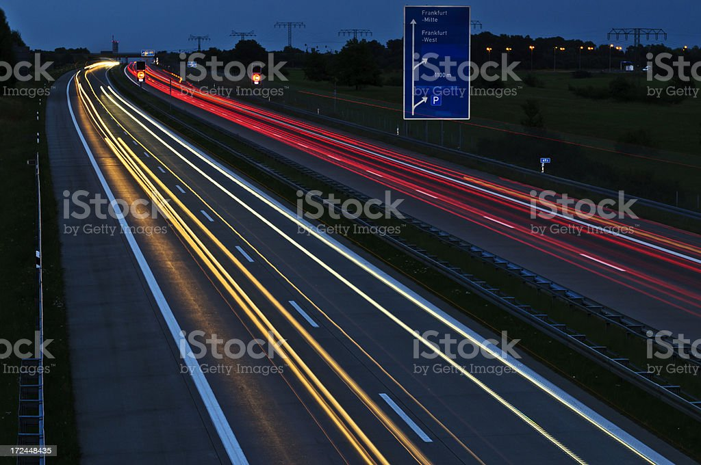 autobahn in Germany at night stock photo