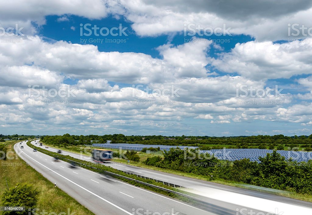 autobahn, solar park stock photo