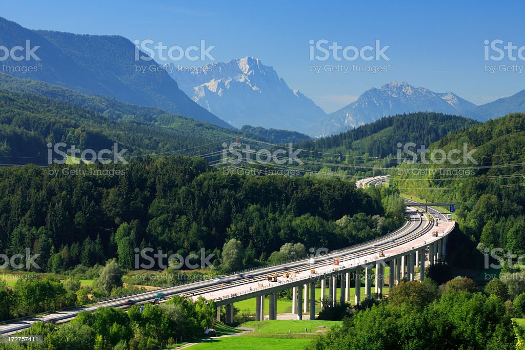 Autobahn through the Bavarian Alps stock photo