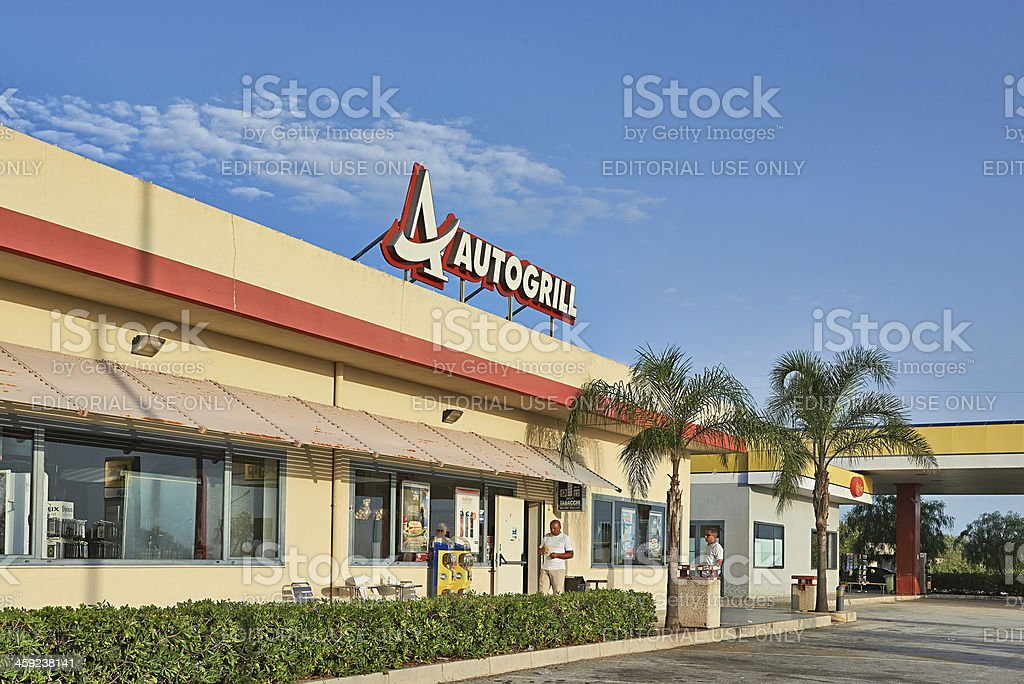 Autogrill Restaurant And Shop In Sicily royalty-free stock photo